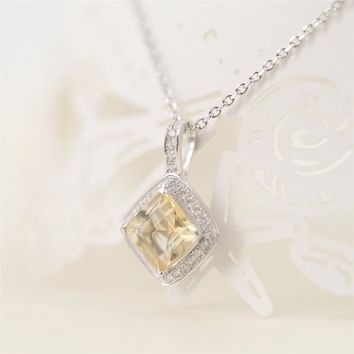 Magic Pieces Sterling Silver Square Pendant with Square Natural Yellow Citrine and CZ