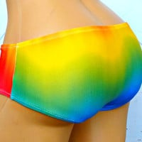 Rainbow Love ombre stripe bikini boyshort swim bottoms or panties