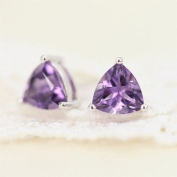 Magic Pieces Sterling Silver Earrings with Faceted Triangle Shape Natural Brazilian Purple Amethyst