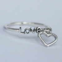 Love Ring w. loose Heart charm , 925 Sterling silver ,  with Romantic, Poetic word and Charm