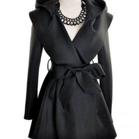 Other Non-Ironing Black Long Sleeve Big Lapel Long Hooded Coat With Belt  style IN02m03901