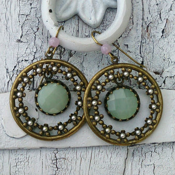 Green Amazonite Antique Gold Earrings Lifetime Plating On Sale