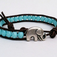 Good Luck Elephant Bracelet, Good Luck Elephant, Turquoise Czech Glass Beads, Chan Luu Style