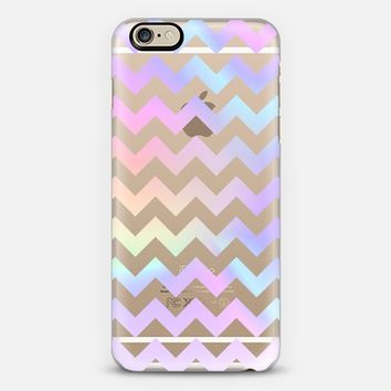 Pastel Rainbow Chevron Transparent iPhone 6 case by Organic Saturation | Casetify