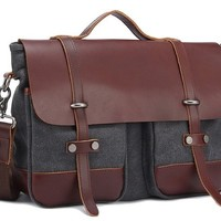 MEKU Men's Canvas and Leather Satchel Messenger Bag