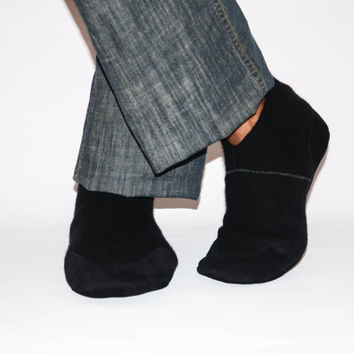 Men Felted Wool Slippers, Men Cottage Socks with Suede Leather Soles, Men Cashmere Shoes.  Size:USA Adults 6.5 -16
