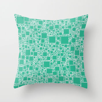 Boxes Teal Throw Pillow by Alice Gosling