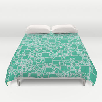Boxes Teal Duvet Cover by Alice Gosling