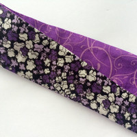 Purple Flower Print Fabric Headband for Women - Reversible Headband - Swirl Print Purple Headband - Women's Casual Headband in Purple