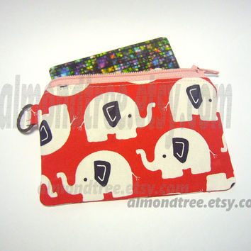 Elephant change purse, zip purse id1340479 coin purse, gadget case, id work lanyard, jogging purse, zippered, zip wallet, flat rate shipping