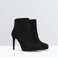 Leather platform bootie