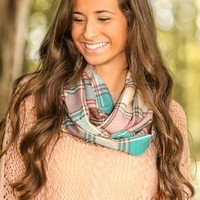 Warmth Within Plaid Infinity Scarf-Teal