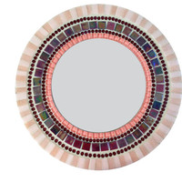 Pink and Purple Round Mosaic Wall Mirror
