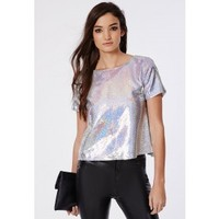 Missguided - Open Back Sequin Shell Top Silver
