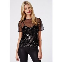 Missguided - Mesh Overlay Sequin Cami Top Black