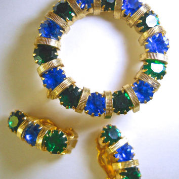 Blue Green Rhinestone Brooch Earrings Set Wreath Vintage Gold Tone