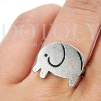 SALE - Simple Elephant Adjustable Animal Ring in Silver from Dotoly