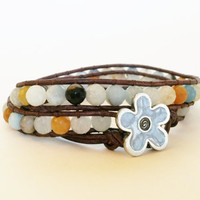 Amazonite Chan Luu Style Wrap Bracelet, Black Gold Amazonite, Danforth Flower Button