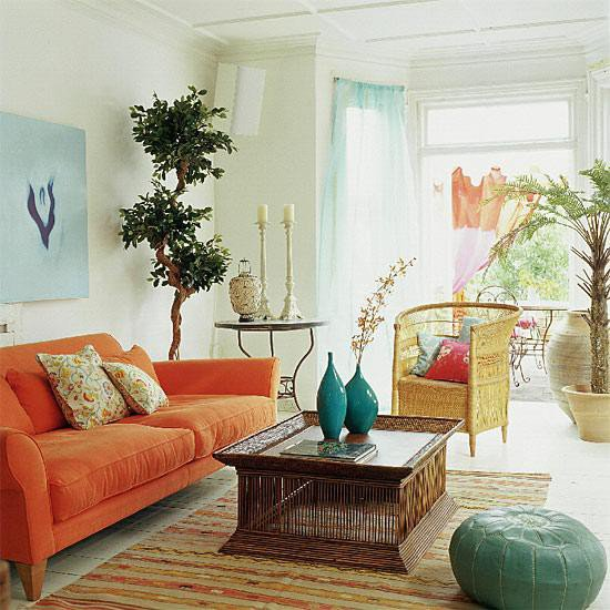 For the home / living rooms - orange blue Orange, blue and cream living room with simple accen
