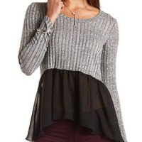 Mixed Media High-Low Top by Charlotte Russe - Black Combo