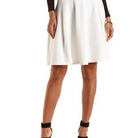 Geo-Quilted Full Midi Skirt by Charlotte Russe - Ivory