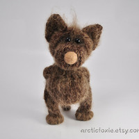 Hand Knitted Dark Brown Arctic Fox 7'' tall Posable by Arcticfoxie
