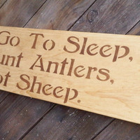 "Rustic baby boy nursery sign, Hunting Deer ""To go to sleep I count Antlers, not Sheep"" Cabin Lake House Decor"