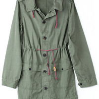 Amygreen Military Style Hooded Parka Coat - New Arrivals - Retro, Indie and Unique Fashion