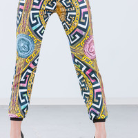 Medusa Medallion Mixed Print Joggers