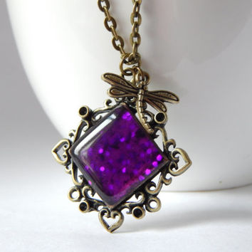 Magenta Resin Poured Necklace in Antique Bronze with Dragonfly Charm - Art Nouveau Style - Resin Glitter Necklace - Purple Stone Necklace