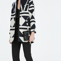 Geometric wool coat