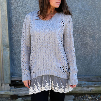 Love Me Lace Knit {Gray}
