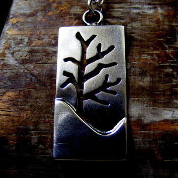 Silver Tree necklace Silver winter tree landscape pendant