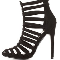Qupid Strappy Caged Heels by Charlotte Russe - Black