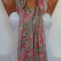 Soft Chiffon Rose Shawl/Scarf-