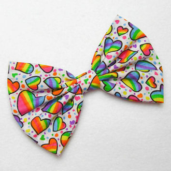 Rainbow Hearts Bow Rainbow hair bow rainbow hair clip hearts hair clip rainbow bow birthday bow birthday party bow birthday girl bow gift