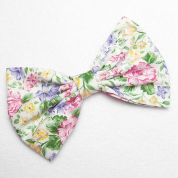 Pink Flower Bow Clip Floral pink bow floral hair bow wedding hair bow tea party bow clip flower hair bow tea time bow woman teens girls bows
