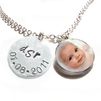 Baby Necklace Personalized Your Child Hand Stamped and Glass Pendant Gift Birthday Baby Shower