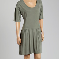 TOGGERY Army Green Baby Doll Supima-Blend Dress | zulily