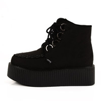 2014 Fashion Women's Black Sexy Lace UP High Top Flat PlatForm Lady's Goth Creepers Shoes Punk Wedge Pumps Shoes Warm Ankle Martin Boots