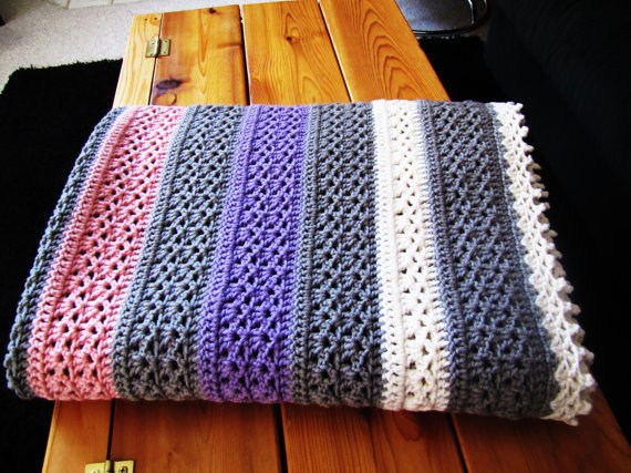 Crochet Lap Blanket : vintage pink, gray, ivory and purple from VintageTins on Etsy