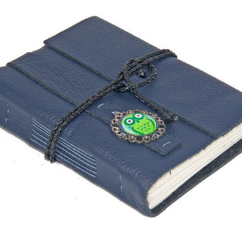 Navy Blue Leather Journal with Owl Cameo - Ready to ship