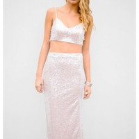 Madison- Two-piece silver sequin cropped top & long skirt