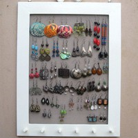 Cream Hand Painted JEWELRY ORGANIZER RACK Organizer / 40 - 50 Earrings / 24 - 36 Necklaces