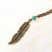 Feather Necklace - Simple Bohemian Jewelry - Woodland - Tribal - Feather Pendant - Vintage - Short, Long Brass Necklace