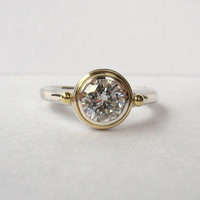 Simple Solitaire In 18kt Gold And Sterling