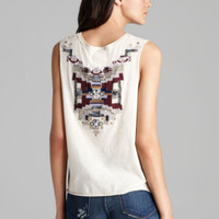 Cream Embellished Muscle Tank