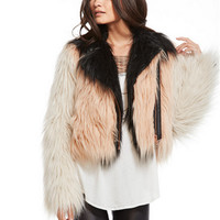 Chaser Block Party Faux Fur Moto Jacket