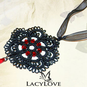 """Tatted gothic pendant """"Dance of Life"""""""