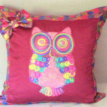 Sequin owl 20x20 pillow cover – Colorful dots girly decor